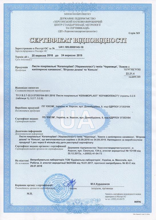 Сертификат соответствия Керамопласт